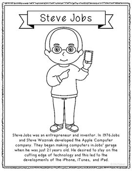 Steve Jobs Inventor Coloring Page Craft Or Poster Stem Technology