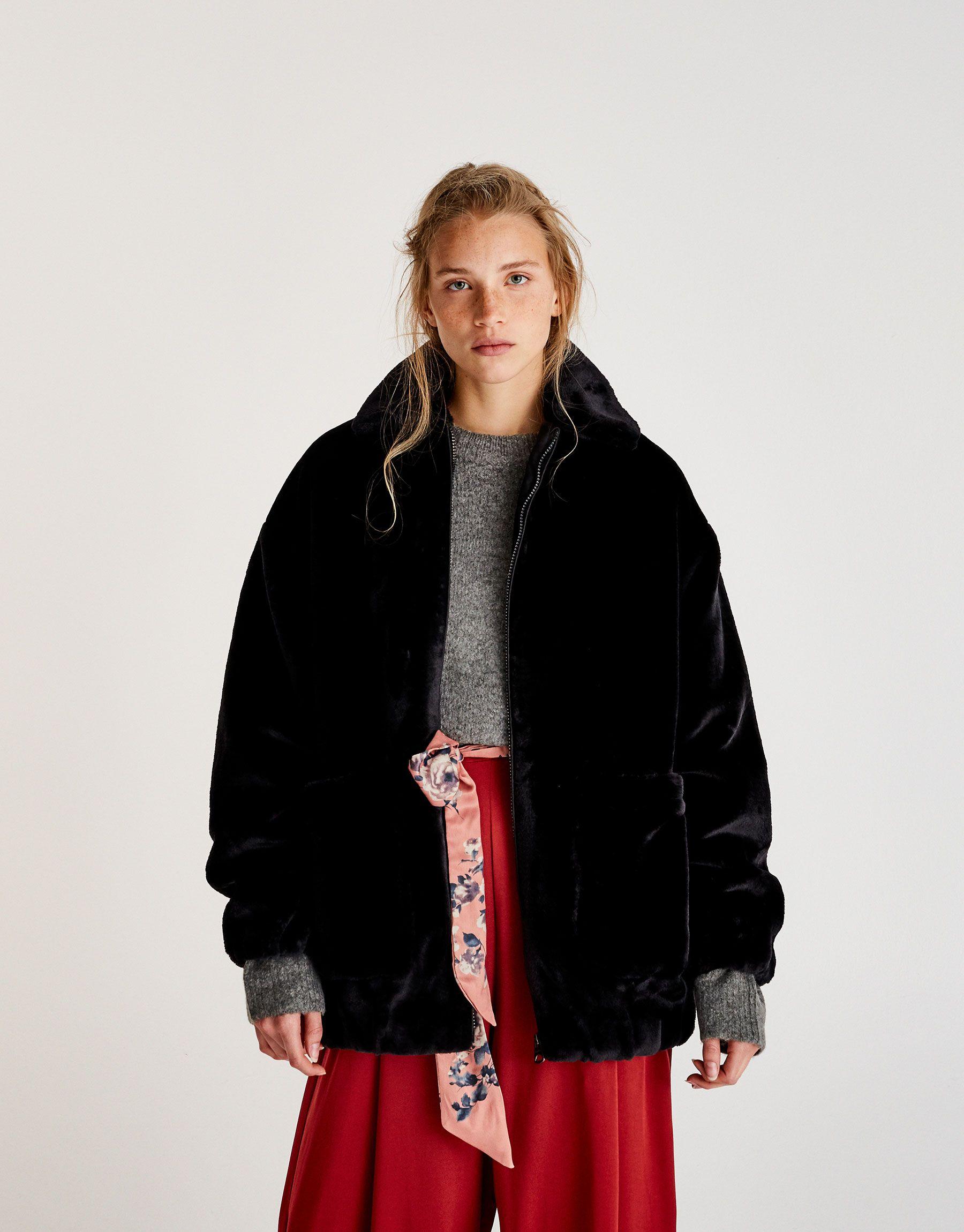 Oversize-Jacke mit Kunstfell und Reißverschluss Jetzt bestellen ...