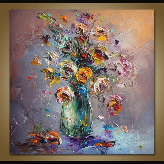 AuBergewohnlich Spachtel Blumen Malerei, Abstrakte Malerei, Leinwand Kunst,  Original Artworks, Leinwand Wand