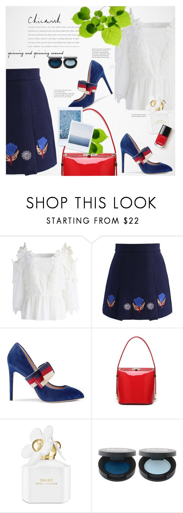 """""""Ice Cream With Your Crush - Chicwish"""" by oksi-k ❤ liked on Polyvore featuring Chicwish, Gucci, ...Lost and Marc Jacobs"""