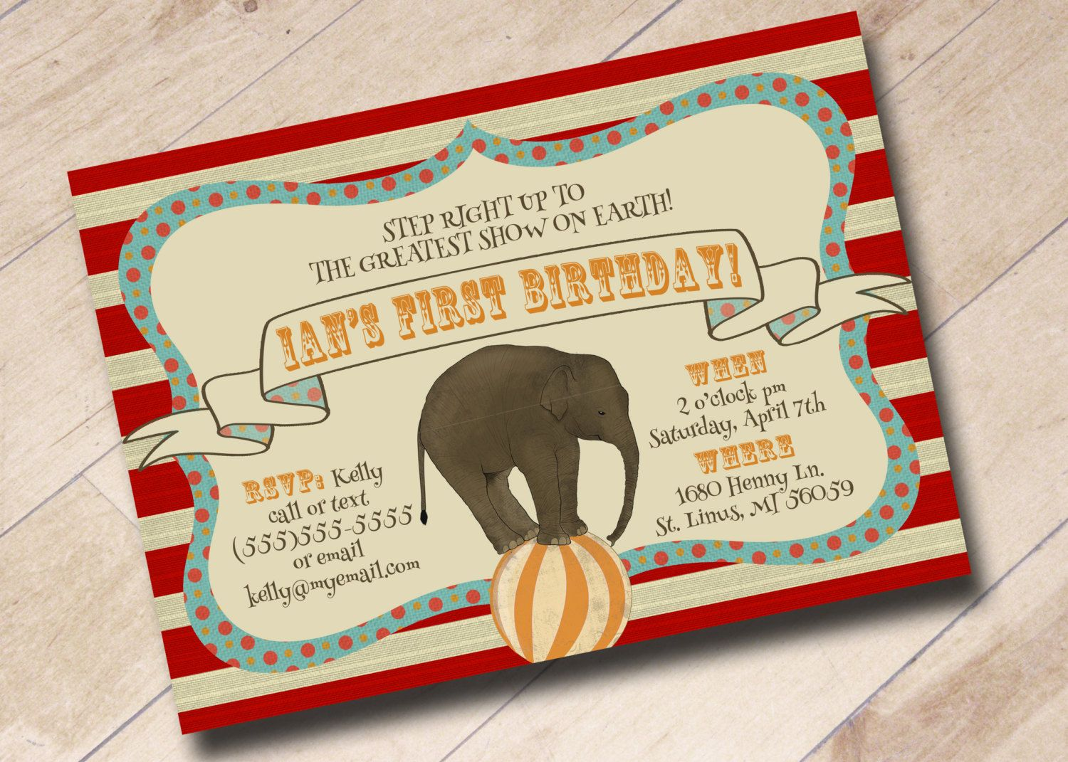 First Birthday Circus Invitation  Vintage Circus Theme by areUin, $15.00