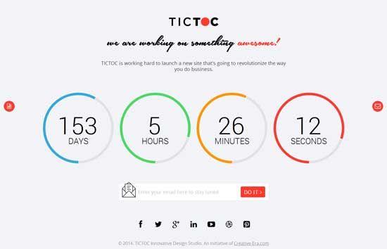 tictoc coming soon countdown template delocal landing page