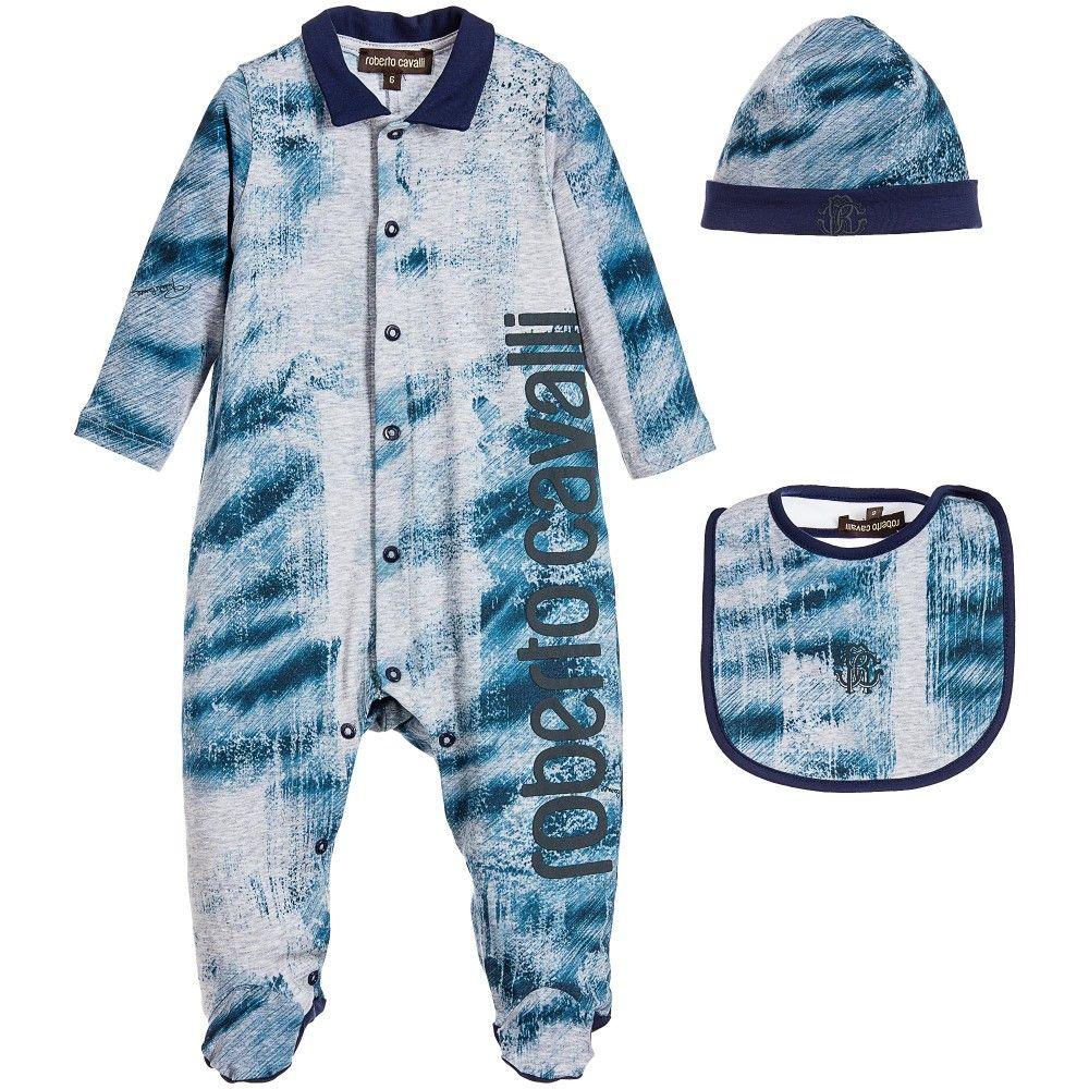 Boys Blue 3 Piece Babygrow, Hat & Bib Gift Set
