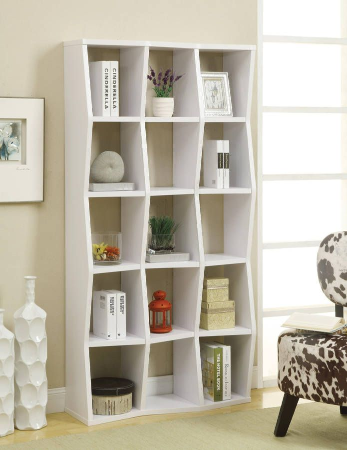 White Wood Bookcase W 15 Open Compartments