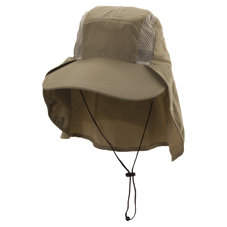 673d55be84f Men s Big Brim Sun Shield Fishing Cap - Khaki - C412C3TGWEZ - Hats   Caps