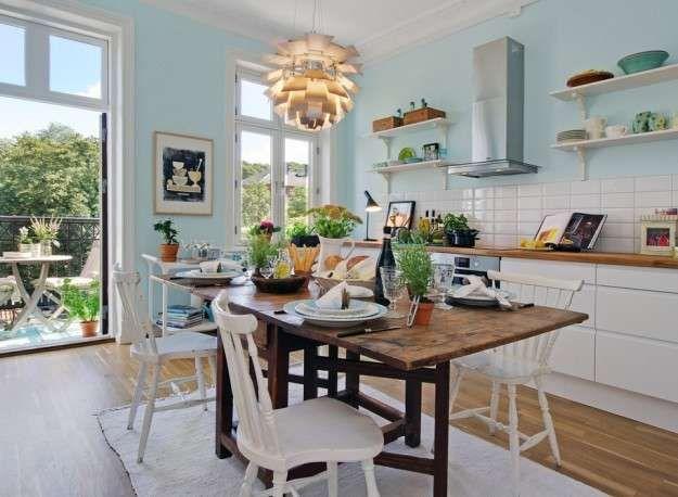 Idee colore pareti cucina | Colori pareti | Pareti azzurro ...