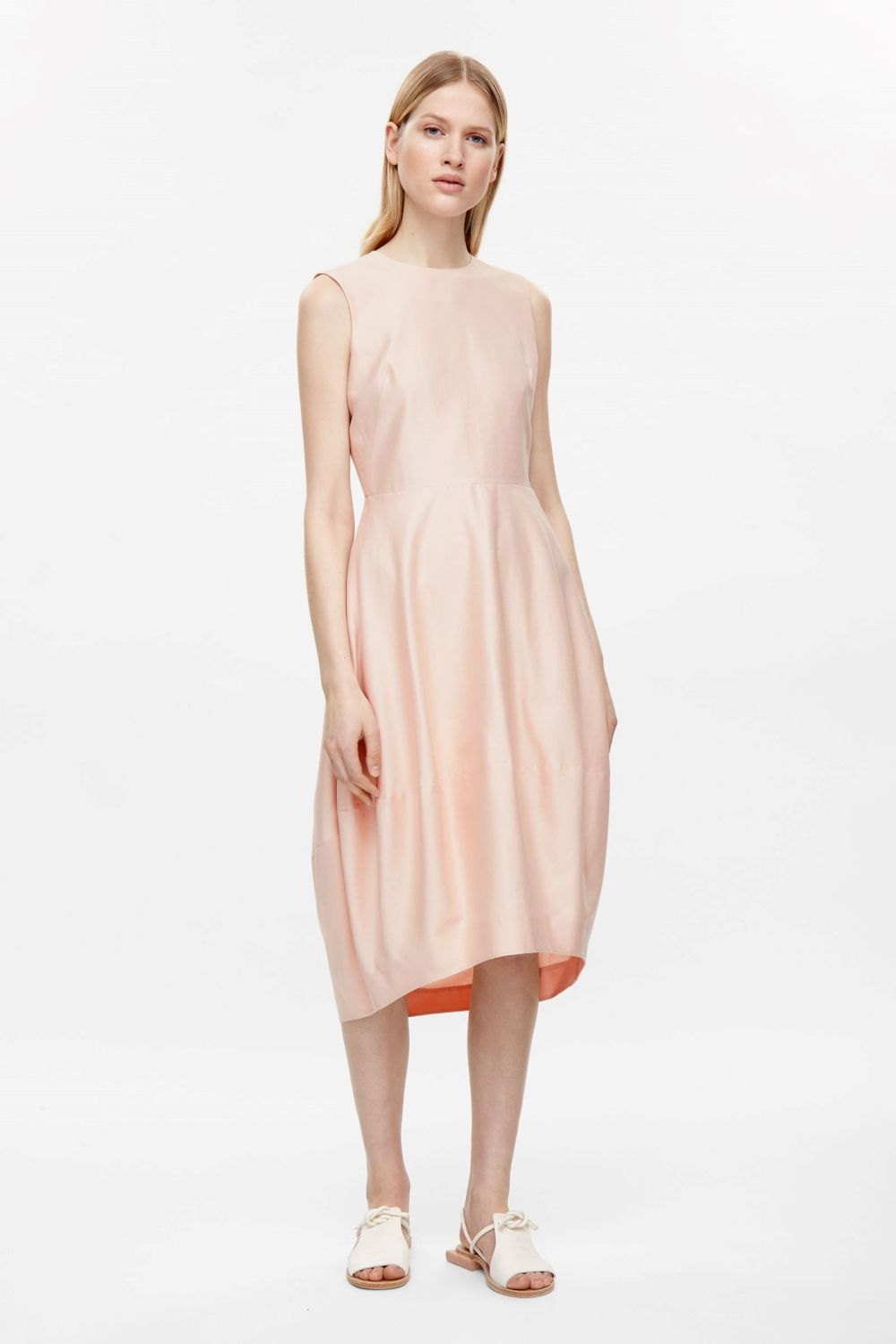 COS image 1 of Silk and cotton dress in Peach | Dresses Dresses ...