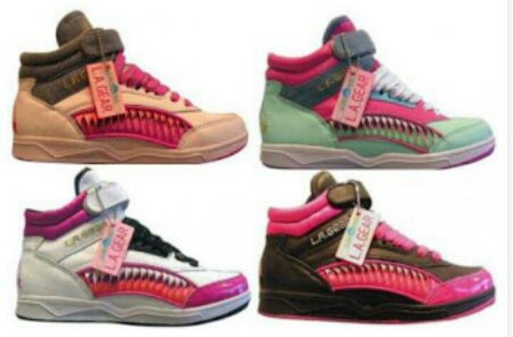 1980s 90s L.A. Gear sneakers with pink and black accents