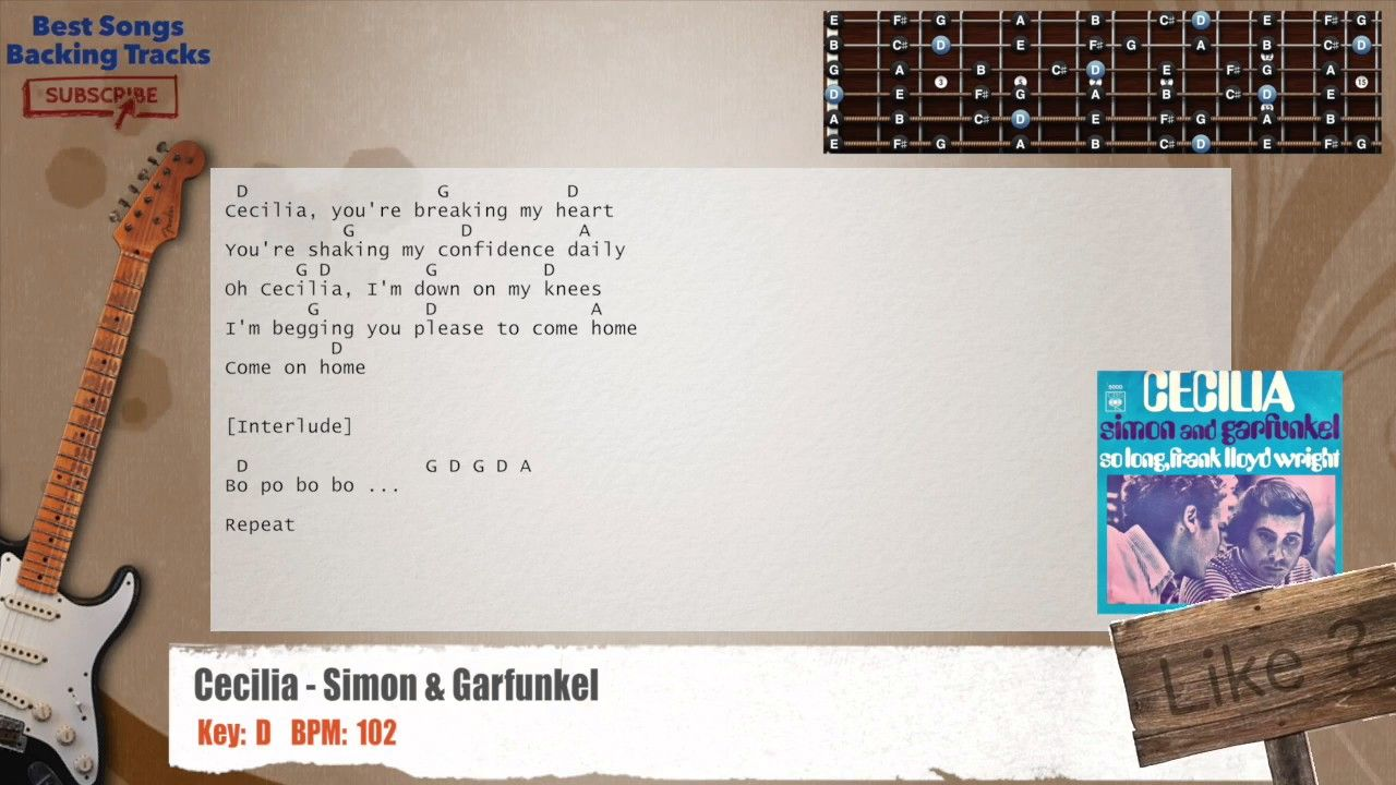 Cecilia Simon Garfunkel Guitar Backing Track With Chords And