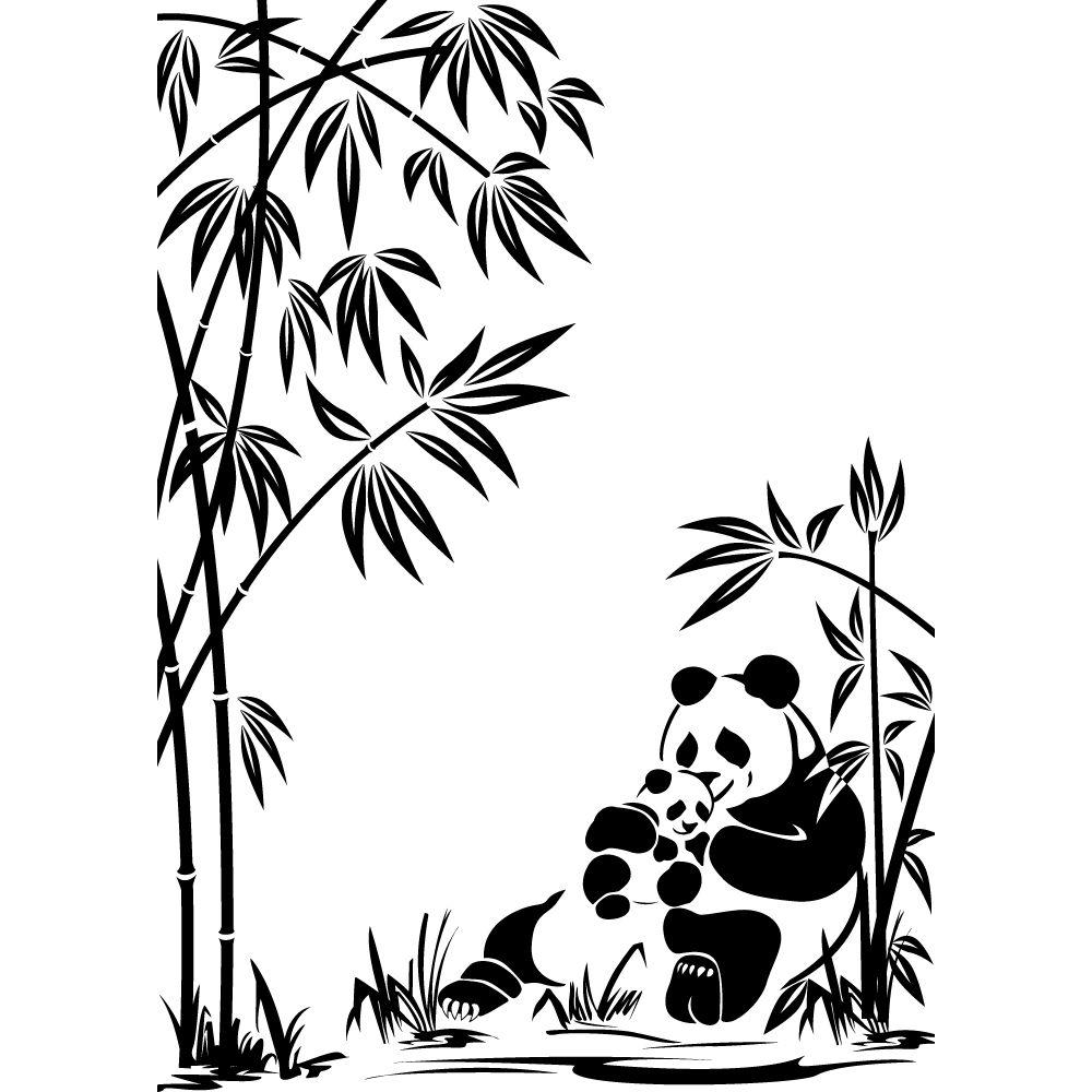 Stickers Panda Bambou Pas Cher