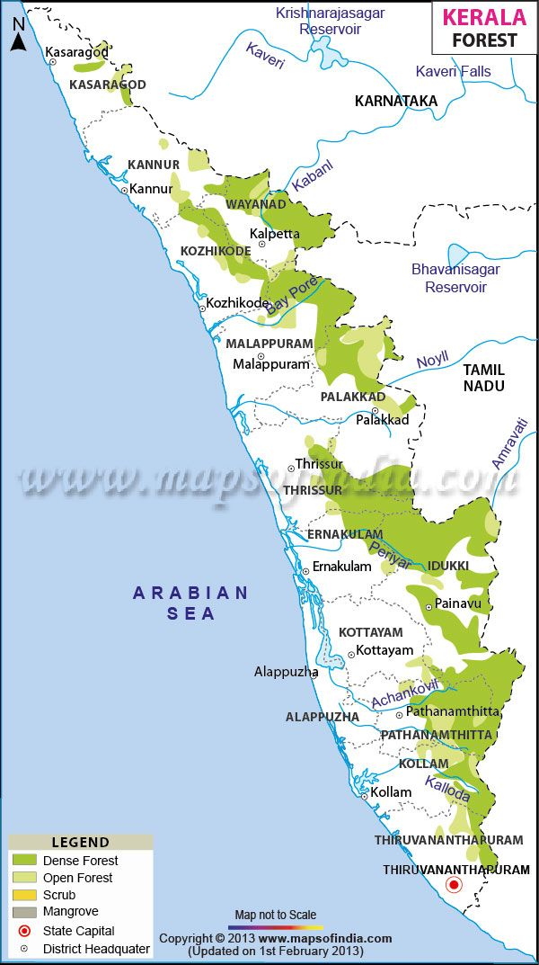 Karte Kerala Indien.Forests Maps In Kerala Kerala