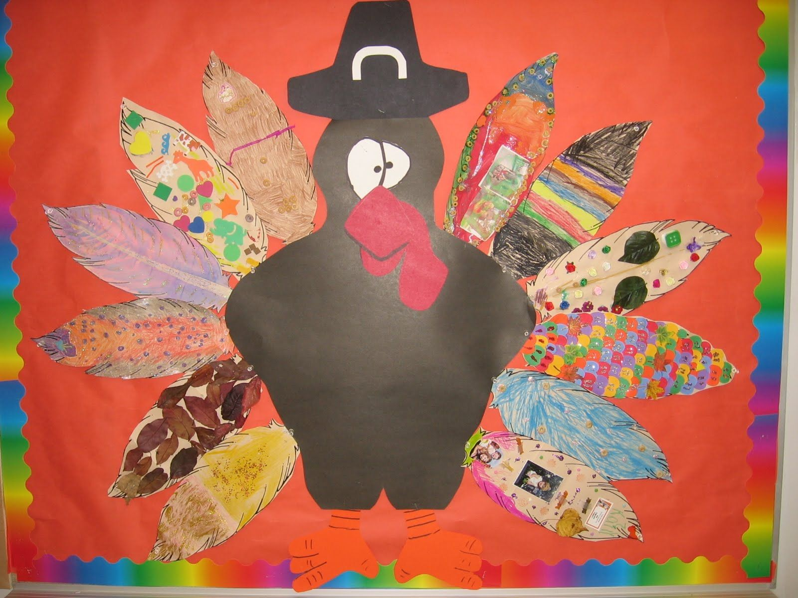 images of decorated paper turkey feathers
