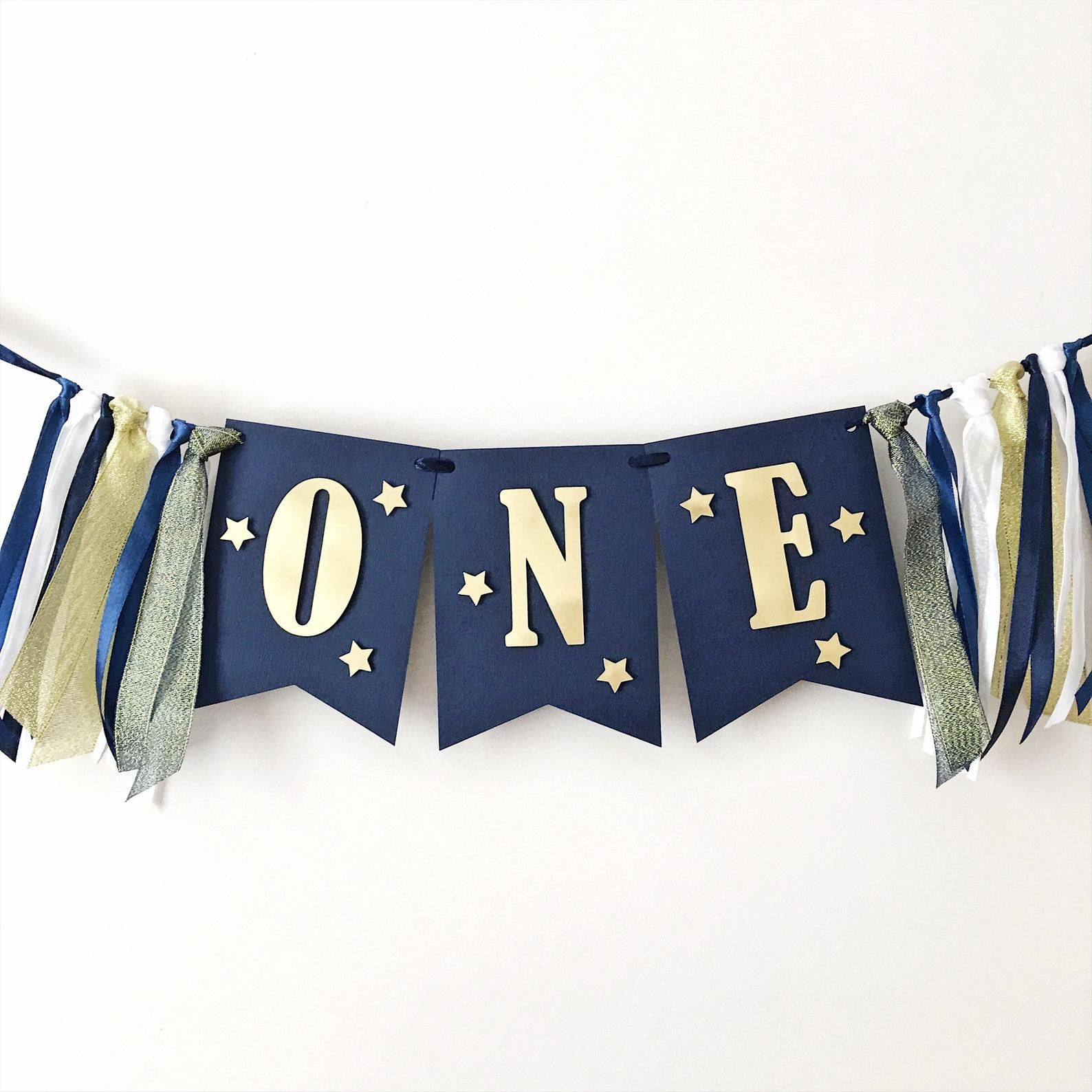 Twinkle Twinkle Little Star One High Chair Banner Navy Blue Gold Little Star Boy 1st Birthday Decorations Sign Love You Moon and Back MS003