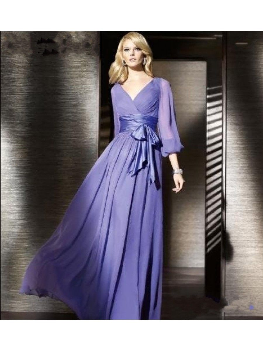 Cheap Purple Long Sleeves Chiffon Prom Evening Formal