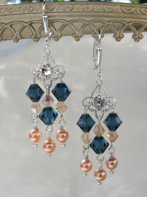 Peaches and Blues Chandelier Swarovski Earrings