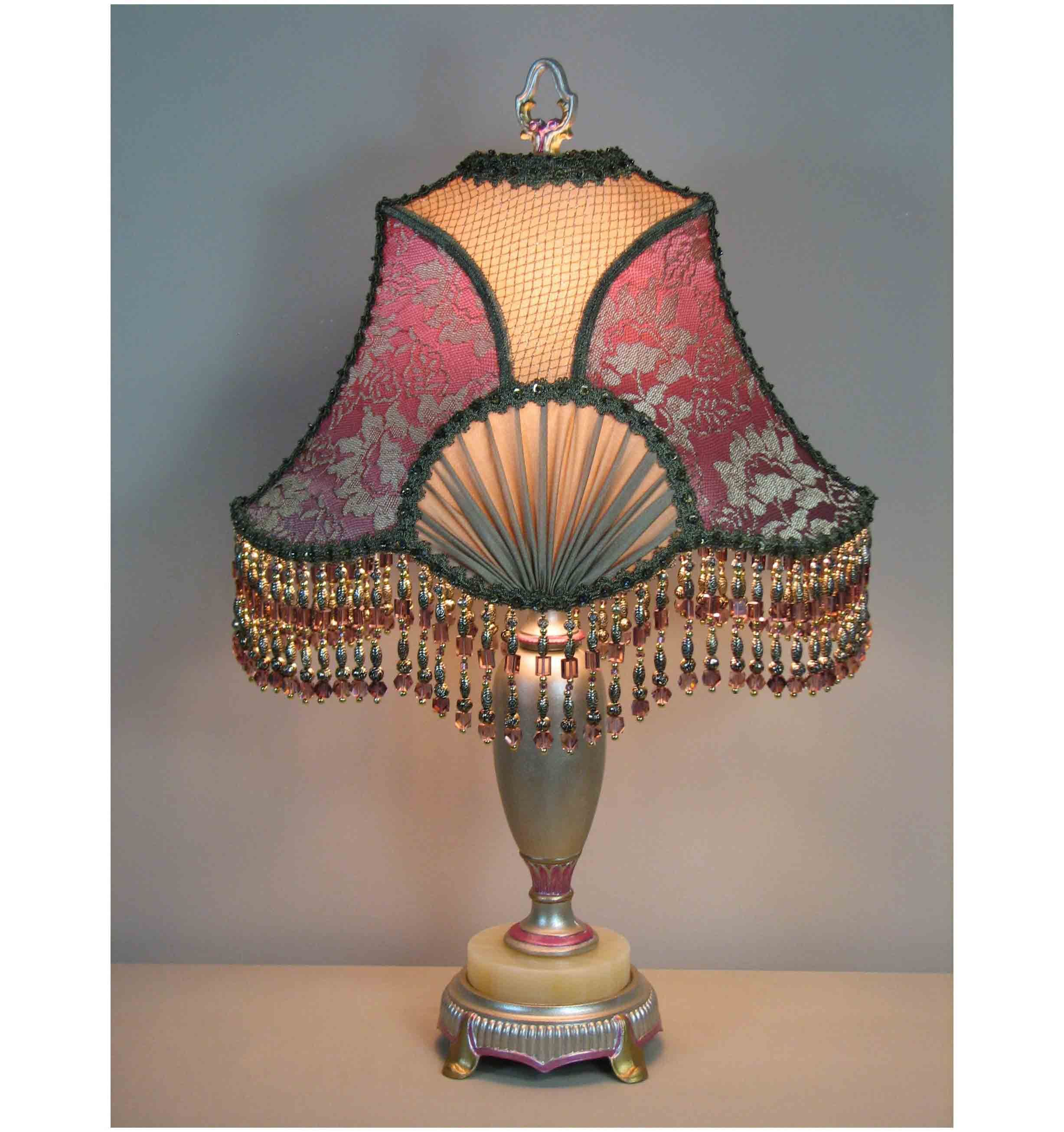 Vintage Table Lamp With Victorian Lamp Shade By Shadezofmichelle