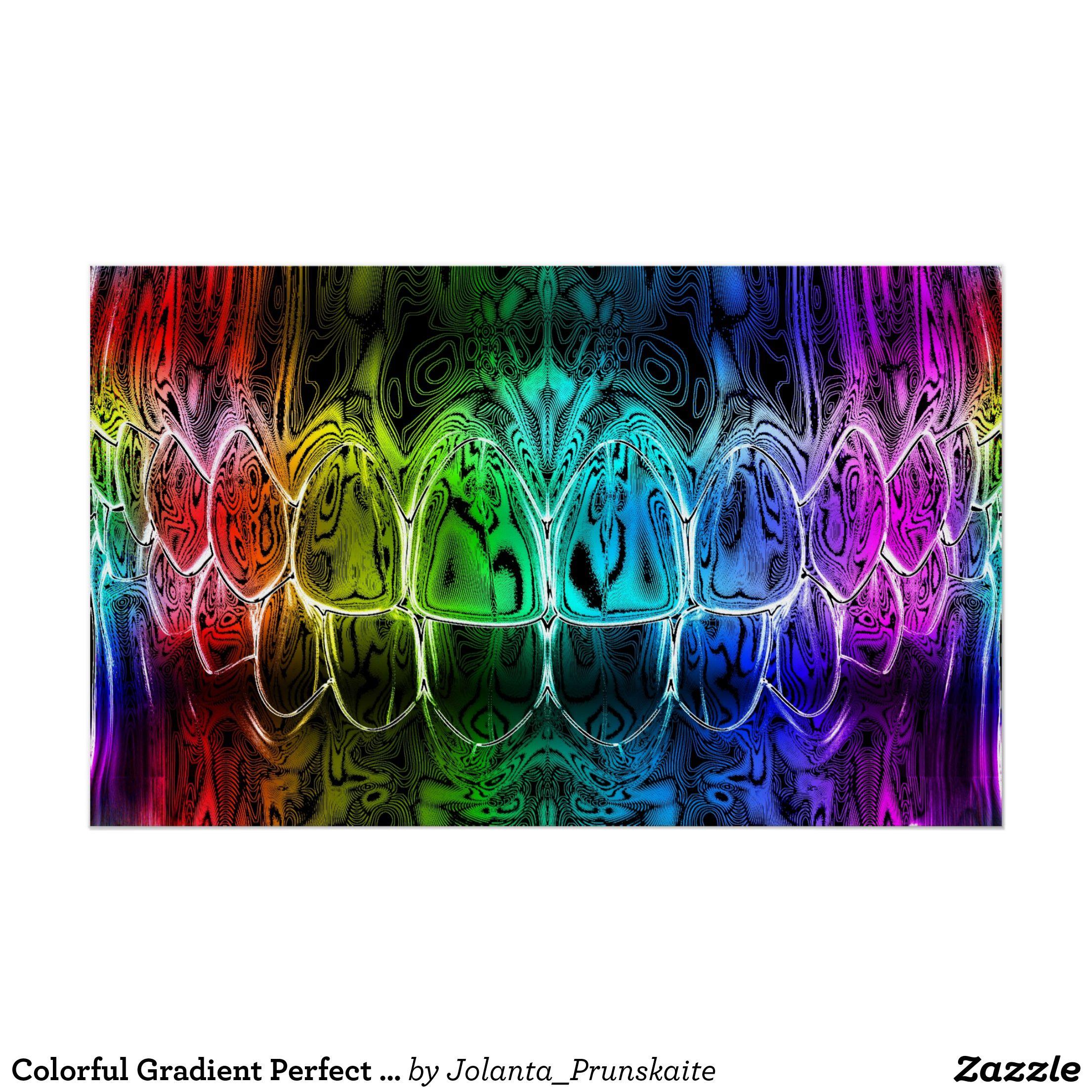 Colorful gradient perfect smile dentist poster zazzle