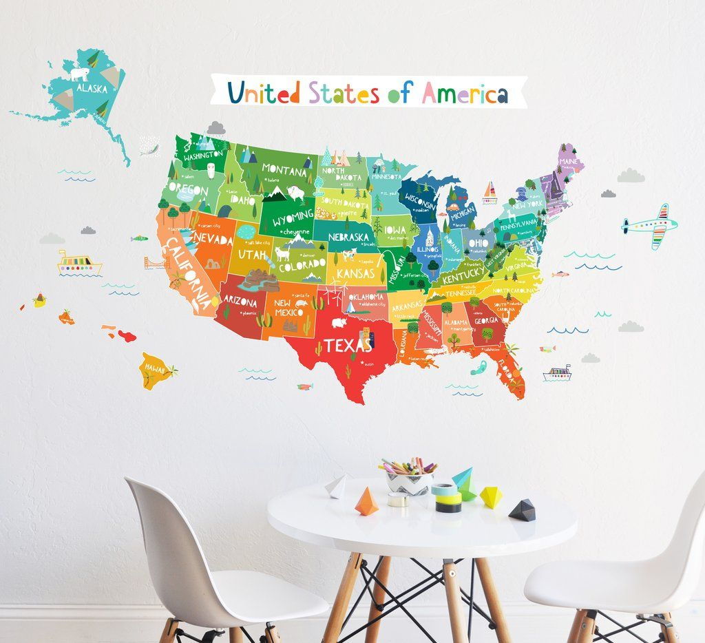 Bright usa wall decal kid wall art wall decals and walls bright usa wall decal gumiabroncs Image collections