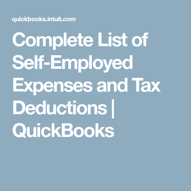 Complete List Of SelfEmployed Expenses And Tax Deductions