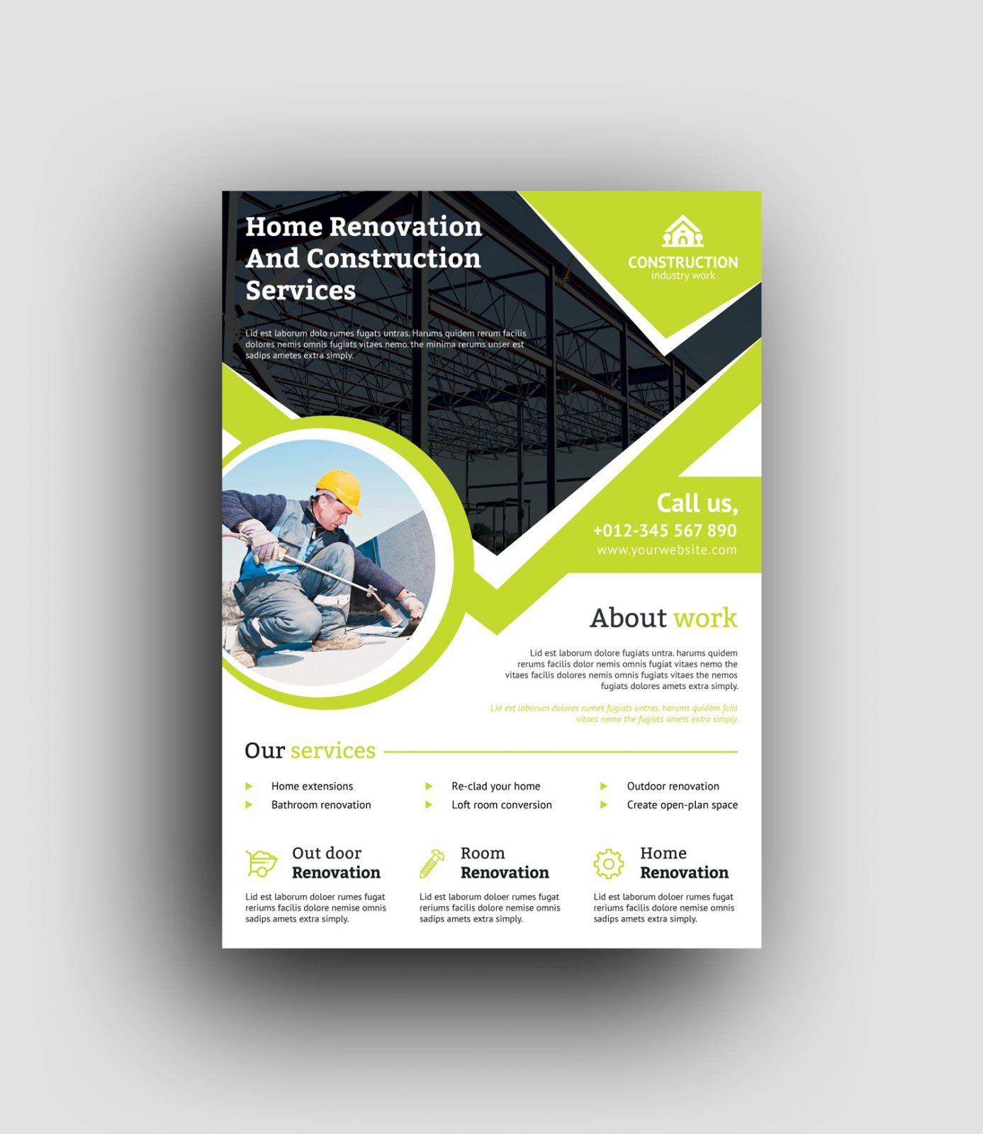 Professional Construction Flyer Design Template 001493 Desain