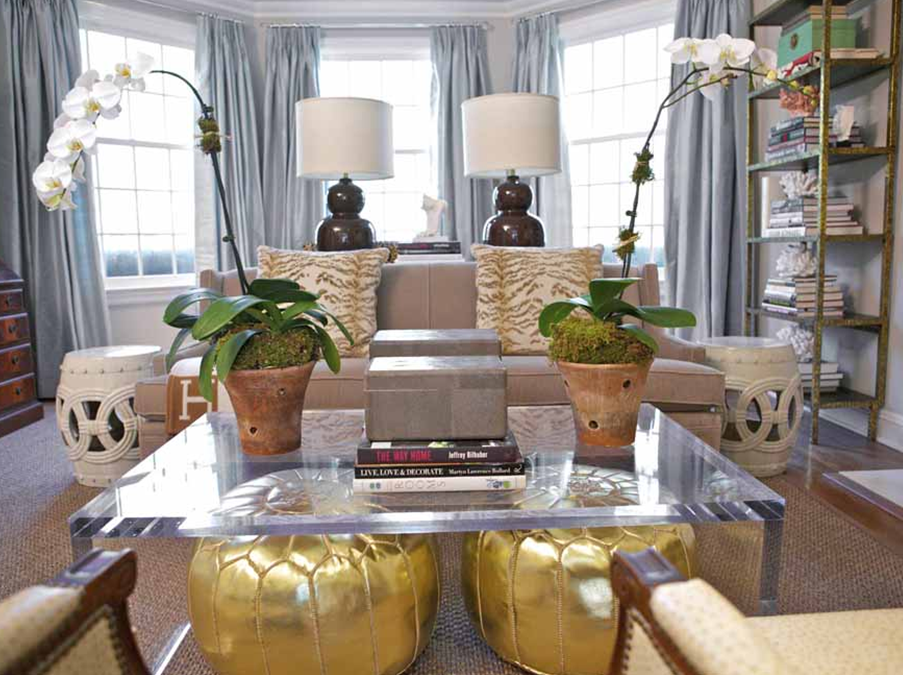 Great Acrylic Coffee Table With Stowed Gold Poufs Via Sam Allen