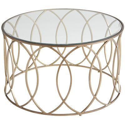 Elana Bronze Iron Round Coffee Table Round Glass Coffee Table
