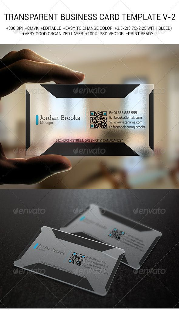 Transparent Business Card Template V 2 Real Objects Business Cards