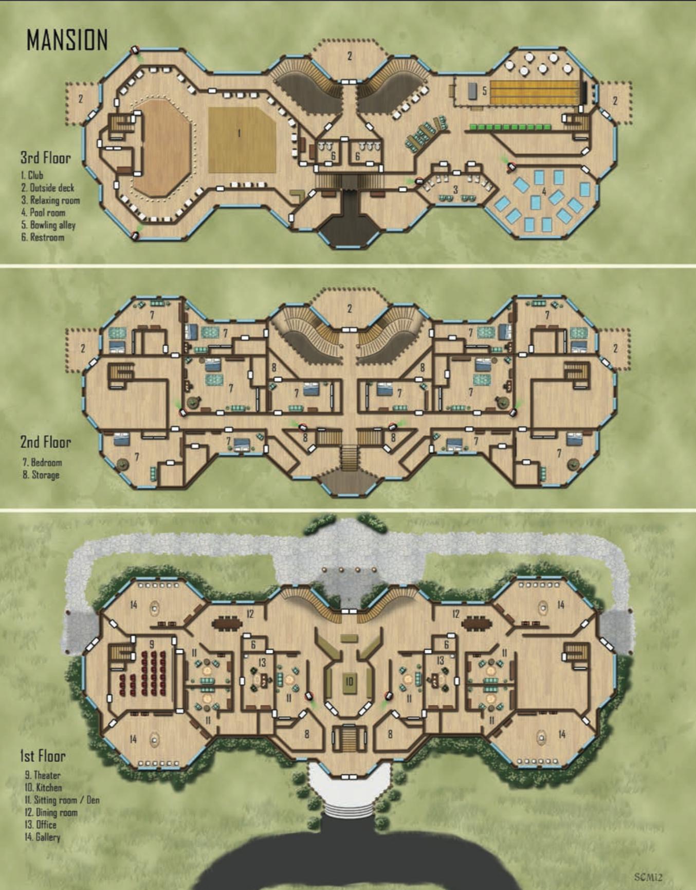 Mansion Shadowrun Floorplan Mapsfloor Plans
