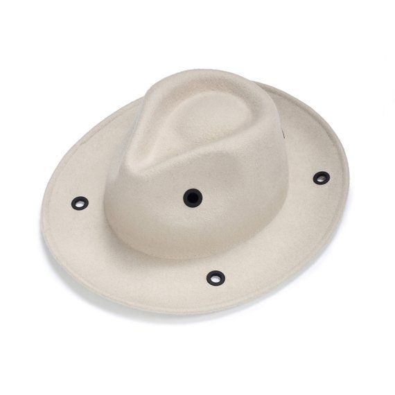 Fashionable Felt Fedora Hat with black metal eyelet  6e239acb323b