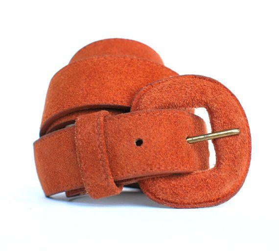 Vintage Burnt Orange Suede Belt Small