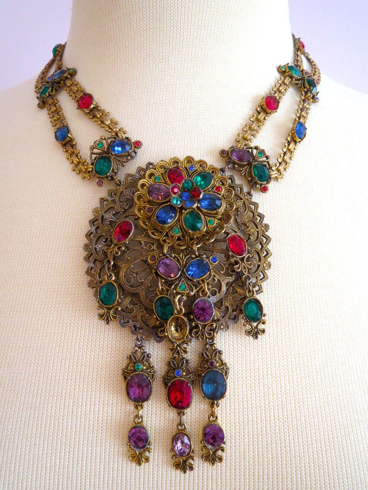 Vintage Art Deco Gold Gilt Byzantine Filigree Chain Necklace With Genuine Coral Rings