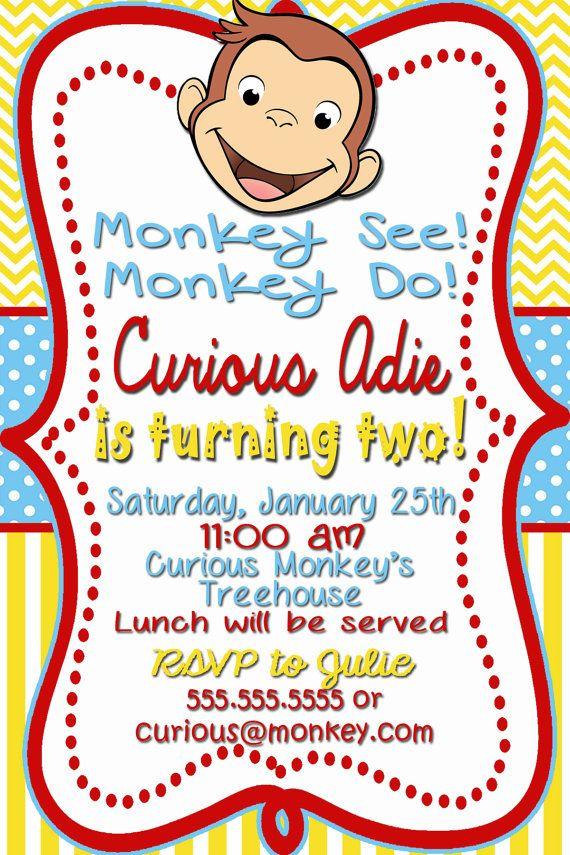 Curious George Birthday Invitations On Etsy 12 00 Monkey Do