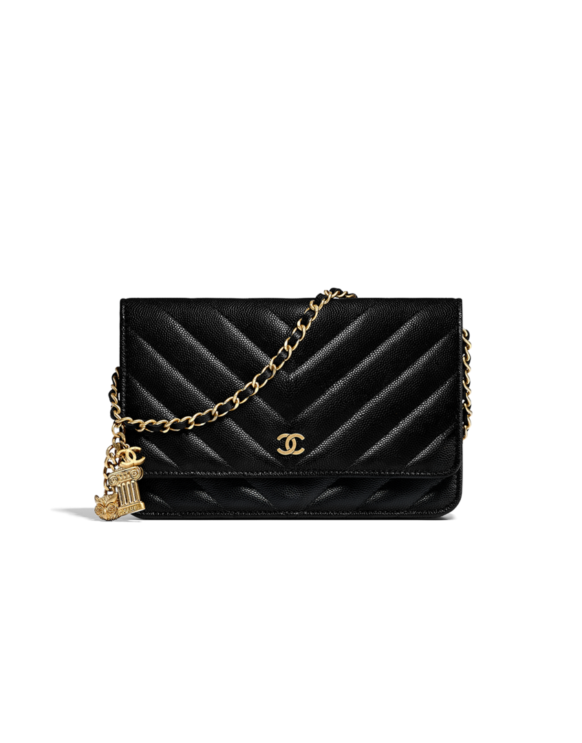 169dd86cf736 Classic wallet on chain, grained lambskin, charms & gold-tone metal-black -  CHANEL