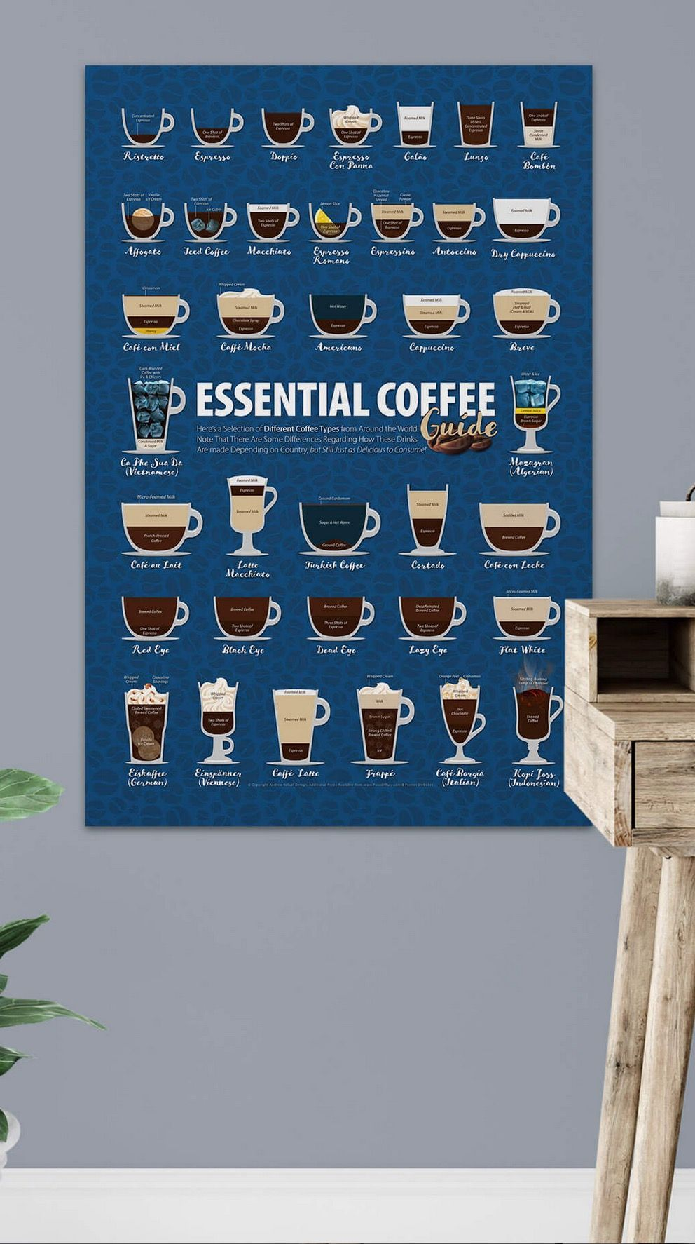 Coffee Types Classic Blue Color of the Year 2020, Cup