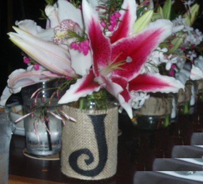 Burlap monagrammed mason jar------Love this!!