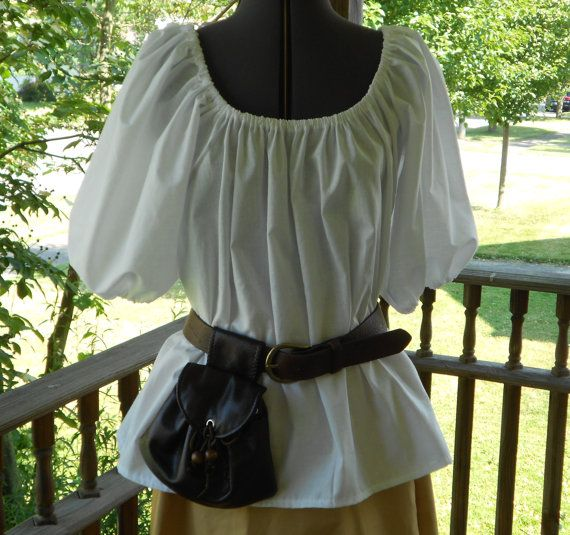 Summer Shirt-Maid-Pirate-GYPSY COTTON BLOUSE-Cream or Brown-Plus Sizes-Costume