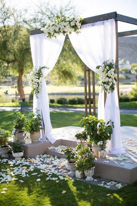 Romantic Outdoor Wedding Backdrop Deerpearlflowers Ceremony Arches And Altars 4
