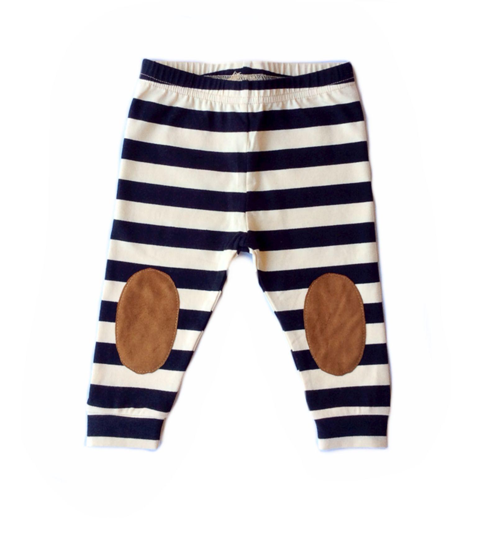 Faux Suede Knee Patch Leggings - Black Stripe