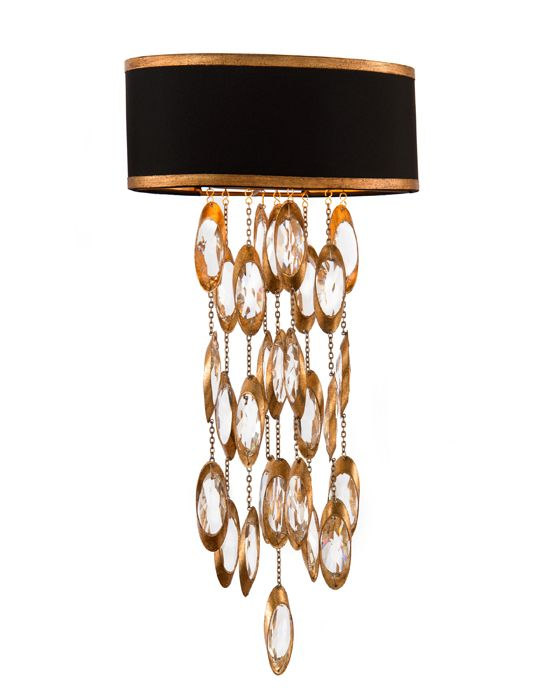 "JOHN RICHARD - AJC-8796 Sconce 24""H X 12""W X 6.5""D Black Tie Sconce. Shade: (12x6.5)x(12x6.5)x5 Black with gold lining. Candelabra base, type B, 60 watt max. Direct wire only."