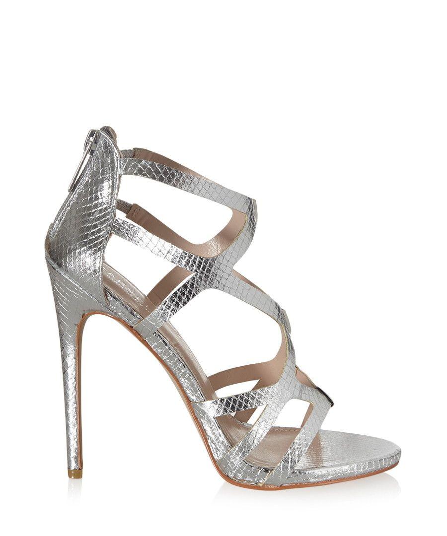 Jest silver snakeskin-effect heels by Carvela Kurt Geiger ...