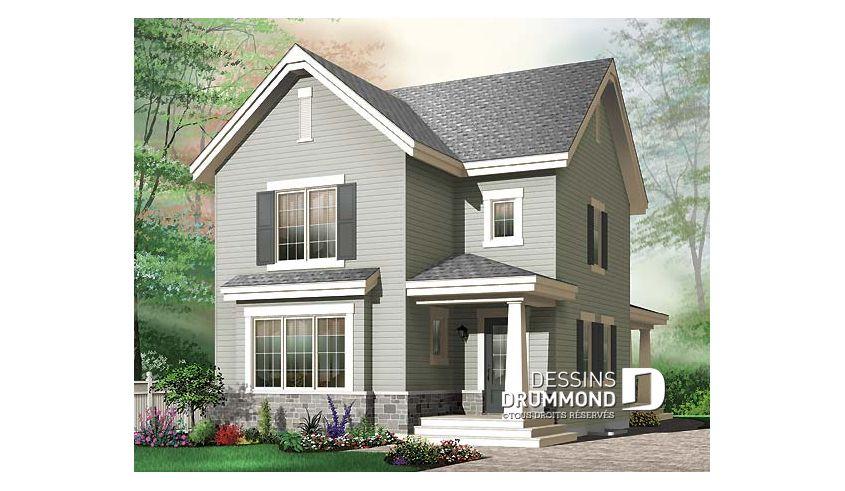 Vue avant - MODÈLE DE BASE - Modèle de maison à étage pour terrain