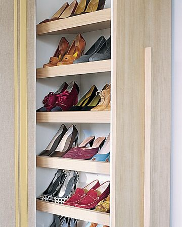 Normally Utilized In Kitchens A Pull Out Pantry Becomes A Shoe Closet When The Shelves Are Installed At An Angle Diy Shoe Rack Organization Hacks Closet Space
