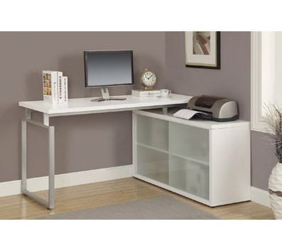 Monarch Specialties L Shaped Desk With Frosted Glass Sliding Doors, White