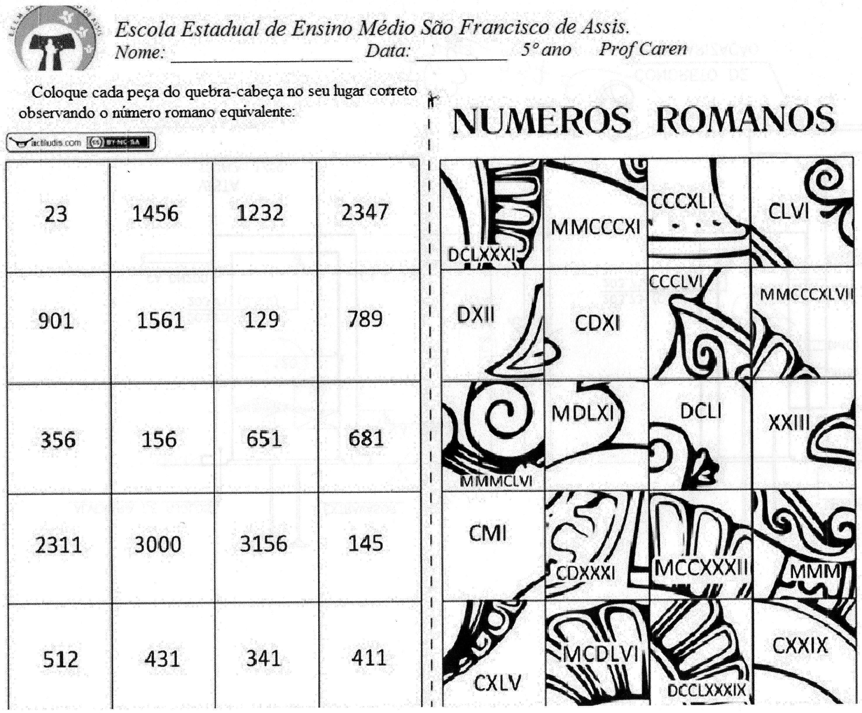 Quebra Cabeça Com Números Romanos Actiludis Romeinse Cijfers