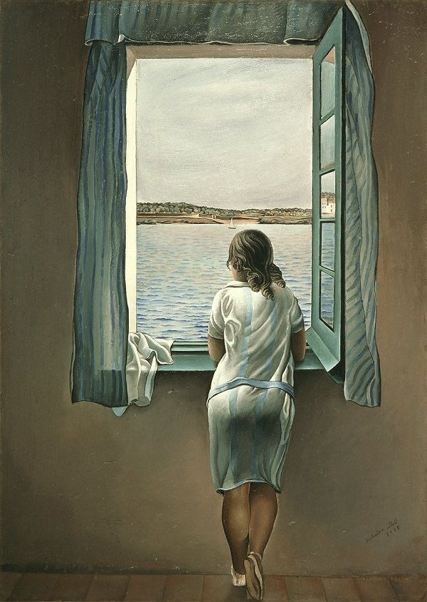 Figure at a Window, 1925 by Salvador Dali. The figure is Dali's Sister Ana Maria.  Thought to have been one of Dali's most representational figurative works.
