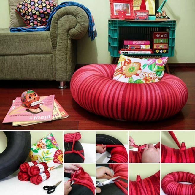 recyclez pour faire un pouf magie au bout des doigts diy tire chairs et tired. Black Bedroom Furniture Sets. Home Design Ideas