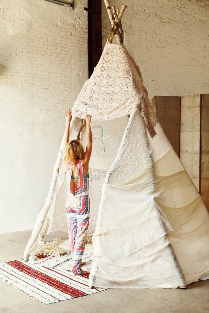 Teepees are for everyone. love the cream teepee with mint dream catcher