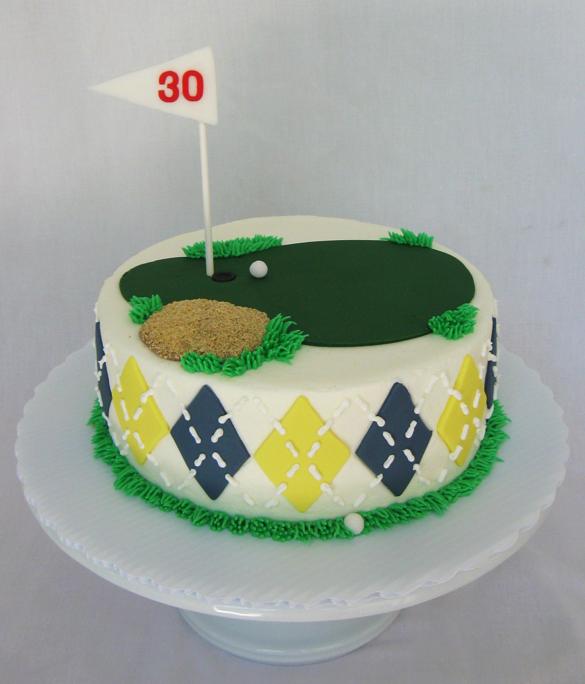 Golf Cake I Like The Argyle On The Sides Except With