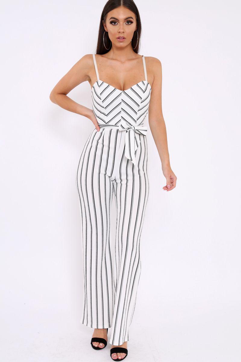 e72a60e0e460 White and Black Striped Cami Jumpsuit - Helena