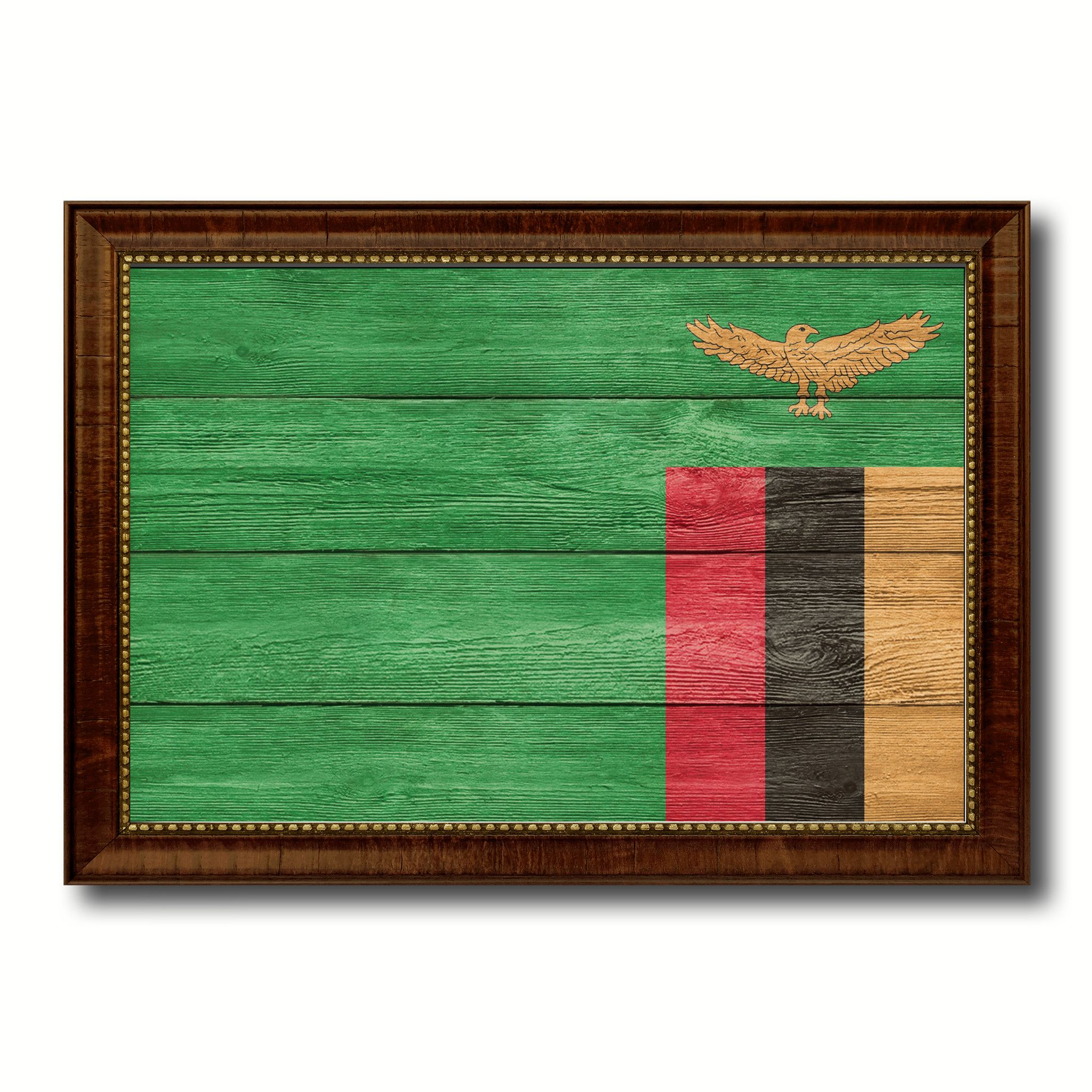 Home interiors and gifts framed art - Zambia Country Flag Texture Canvas Print With Brown Custom Picture Frame Home Decor Gift Ideas Wall Art Decoration